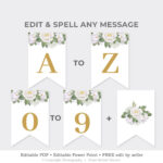 Greenery Custom Party Banner, White Roses Party Pennant Throughout Bride To Be Banner Template