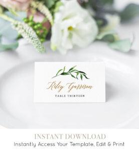 Greenery Wedding Place Card Template, Printable Escort intended for Printable Escort Cards Template