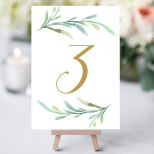 Greenery Wedding Table Numbers Template, Printable Reception with regard to Table Number Cards Template