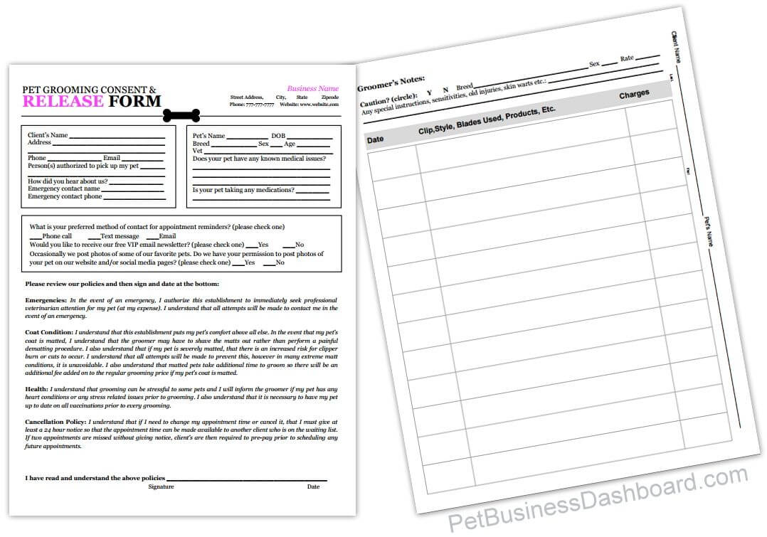 Grooming Release Form Template & Printable Pdf | Groomers With Regard To Dog Grooming Record Card Template