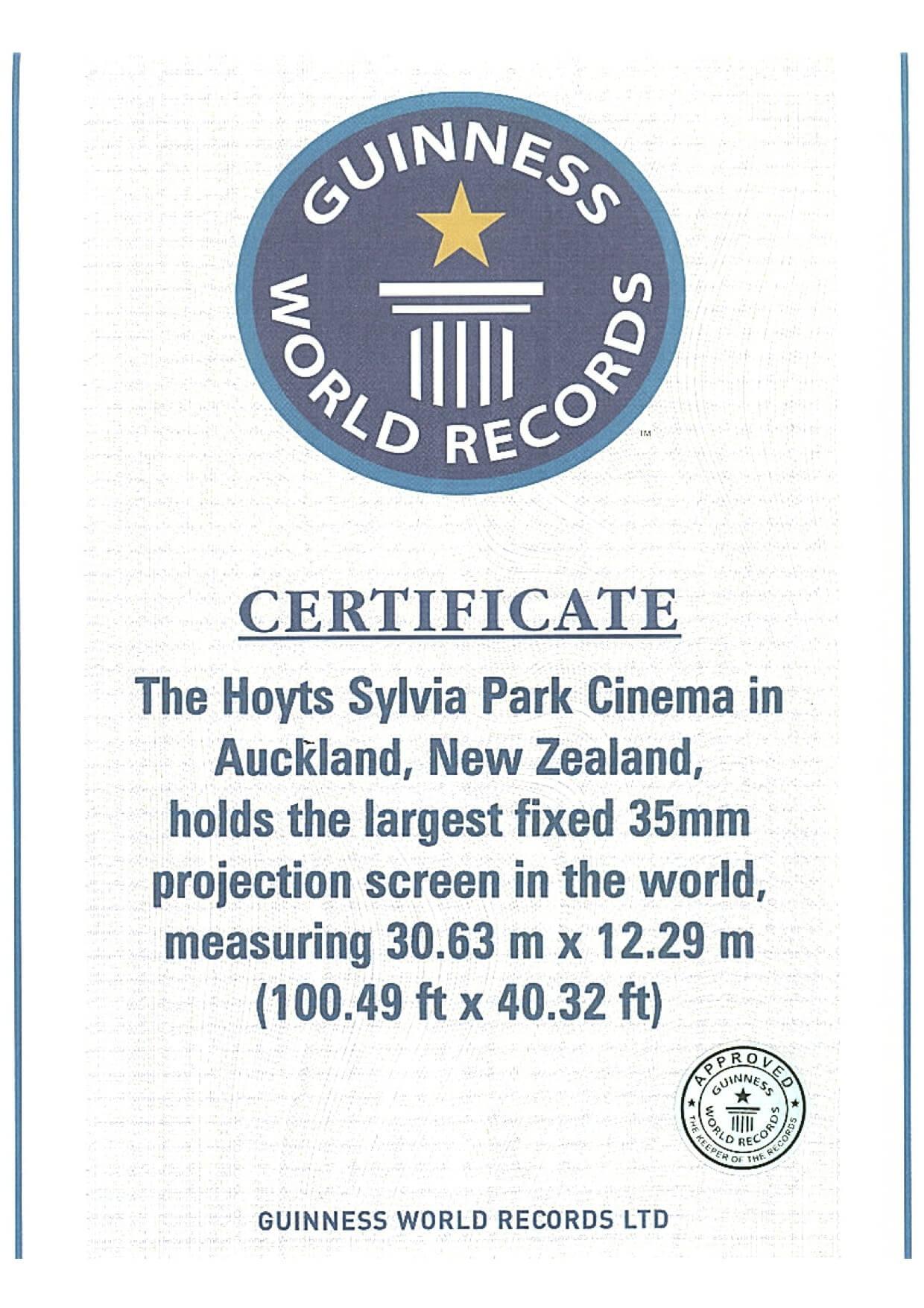 Guinness Certificate – Specialty Cinema Regarding Guinness World Record Certificate Template