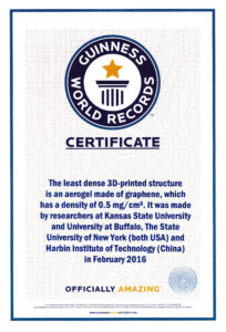 Guinness World Records ™ Names Engineer's Graphene Aerogel for Guinness World Record Certificate Template