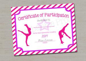 "Gymnastics Award Certificate, Dance Award – Printable Digital File 8.5"" X  11"" in Gymnastics Certificate Template"