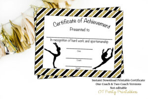 Gymnastics Award – Gymnastics Certificate – Printable Gymnastics Award –  Sports Achievement – You Print – Gymnastics Meet for Gymnastics Certificate Template