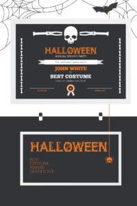 Halloween Best Costume Award Certificate Template #73973 throughout Halloween Costume Certificate Template