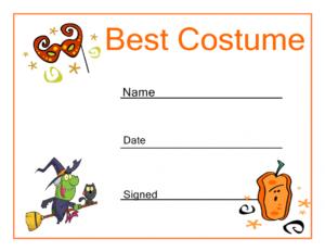 Halloween Best Costume Certificate Haunts & Hoots Halloween pertaining to Halloween Costume Certificate Template