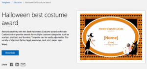 Halloween Certificate Template Word with regard to Halloween Costume Certificate Template