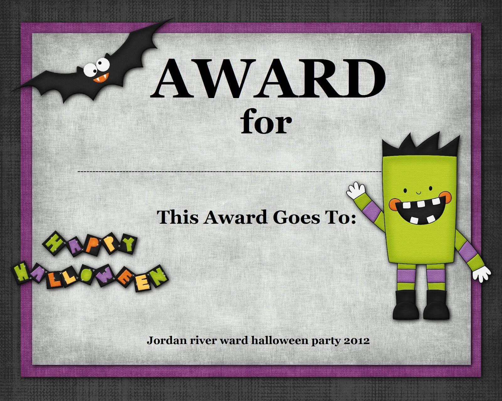 Halloween Costume Award   Halloween   Halloween Costume Throughout Halloween Costume Certificate Template