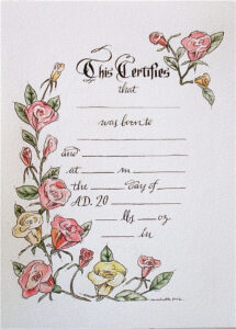 Hand Drawn & Painted Birth Certificate (Perfect For A Little inside Baby Doll Birth Certificate Template