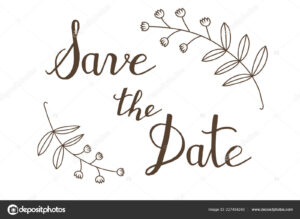 Hand Drawn Save The Date Typography Lettering Poster. Rustic throughout Save The Date Banner Template