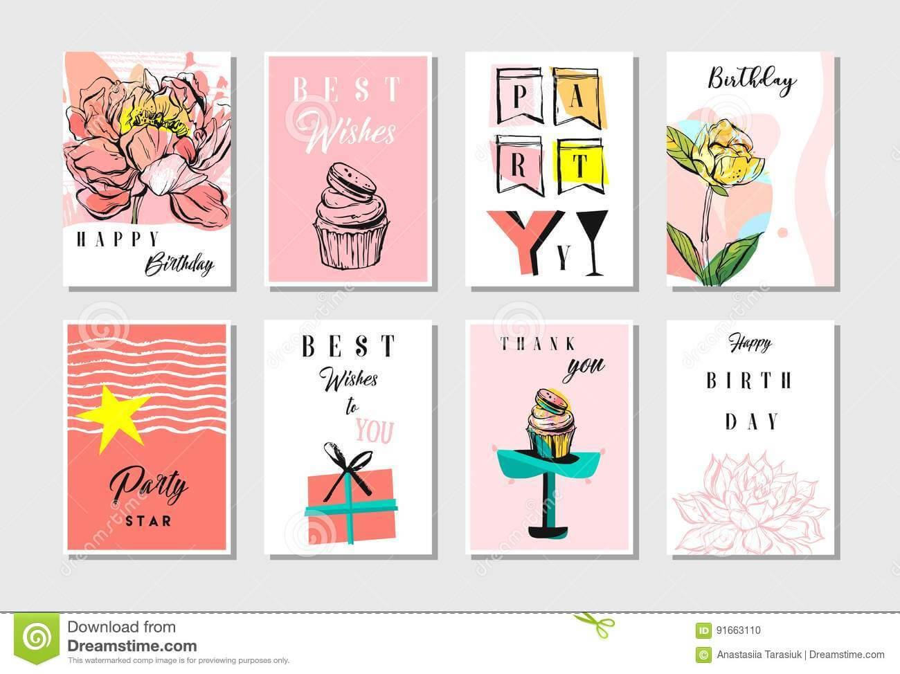 Hand Drawn Vector Abstract Textured Unusual Artistic Collage Throughout Birthday Card Collage Template