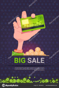 Hand Holding Credit Card Over Big Sale St. Patrick Day inside Credit Card Templates For Sale