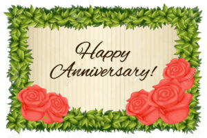 Happy Anniversary Card Template With Red Roses Illustration within Template For Anniversary Card