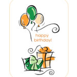 Happy Birthday Card (With Balloons, Quarter-Fold) regarding Quarter Fold Birthday Card Template