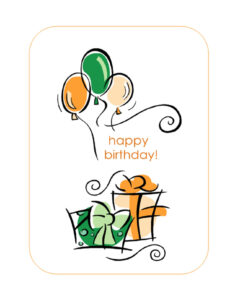 Happy Birthday Card (With Balloons, Quarter-Fold) within Quarter Fold Card Template
