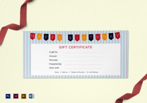 Happy Birthday Gift Certificate Template for Gift Card Template Illustrator