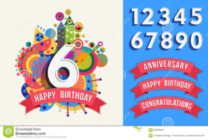 Happy Birthday Greeting Card Number Set Template Stock Within Greeting Card Template Powerpoint