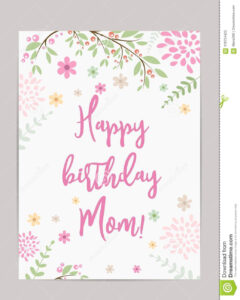 Happy Birthday Mom! Greeting Card Stock Vector inside Mom Birthday Card Template