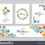 Happy Mother's Day Card And Label Floral Set Stock Within Mothers Day Card Templates