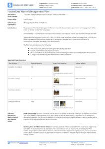 Hazardous Waste Management Plan Template – Free And Editable with Waste Management Report Template