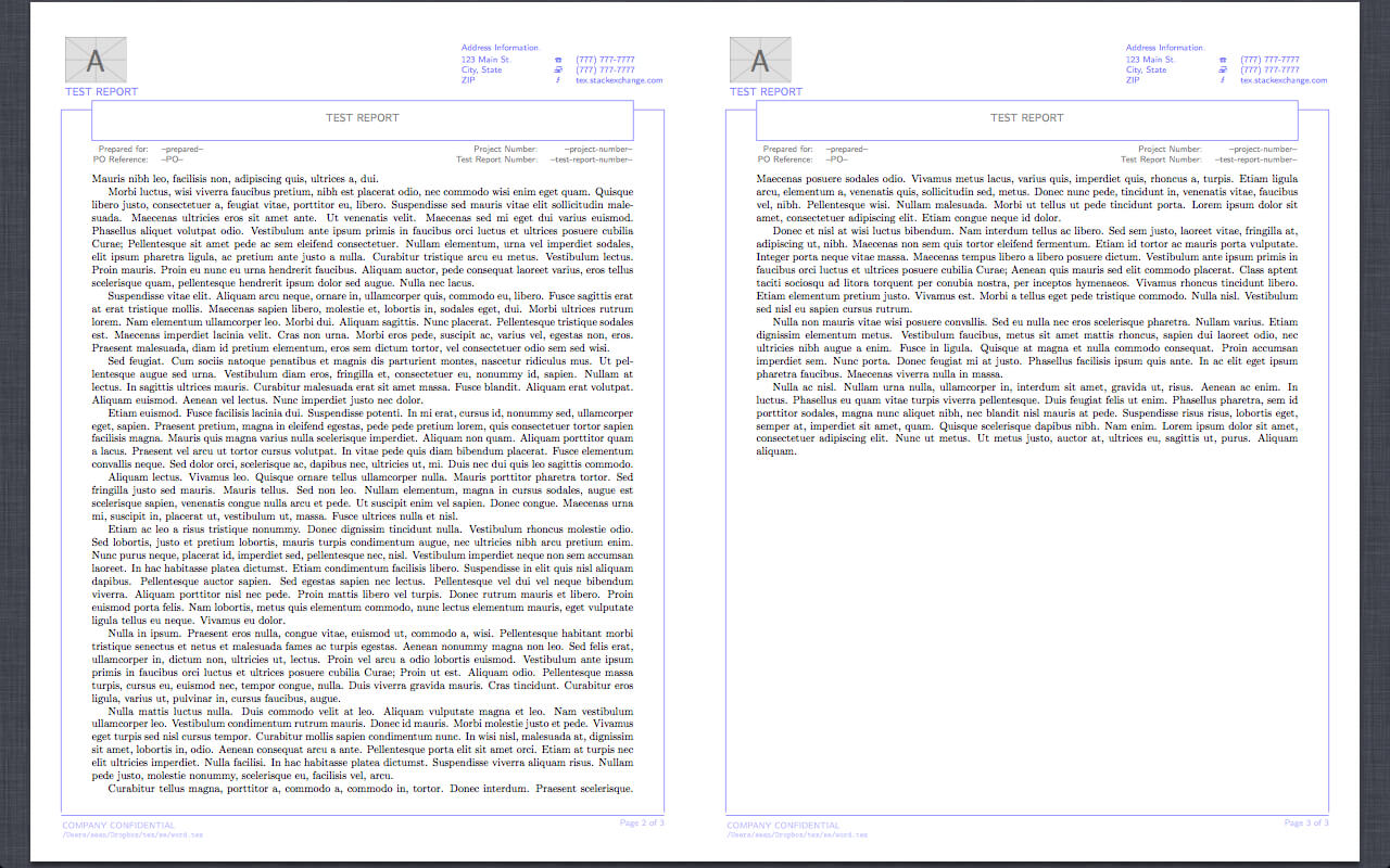 Header Footer - Reproduction Of Word Report Template In For Latex Template Technical Report