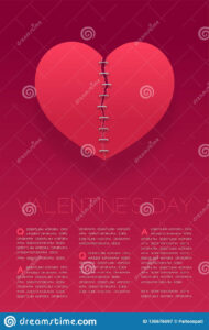 Heart Paper Tear Repairstaples, Valentine`s Day Concept for Staples Banner Template