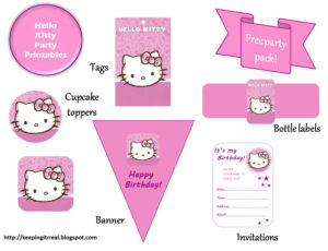 Hello Kitty Party Pack – Free Printables |Keeping It Real throughout Hello Kitty Birthday Banner Template Free