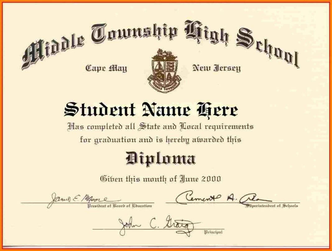 High School Diploma Template Word | James Williams | Free Throughout Graduation Certificate Template Word