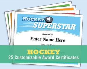 Hockey Certificates Editable , Kid Certificates, Child, Hockey Mom, Team  Parent, Hockey Coach, Award Certificates Templates, Hockey Hair pertaining to Hockey Certificate Templates