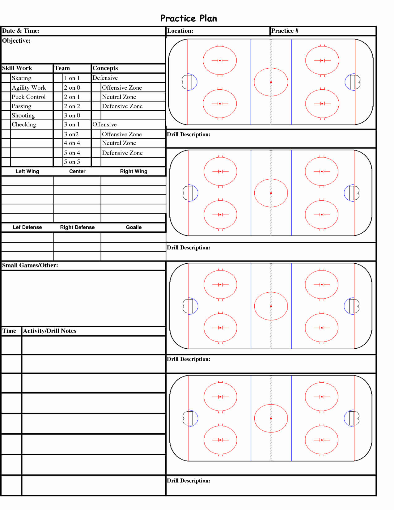 Hockey Practice Plan Template | Template Modern Design Inside Blank Hockey Practice Plan Template