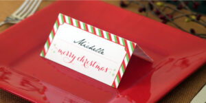 Holiday Place Card Diy Printable with Place Card Setting Template