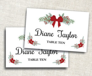 Holiday Place Card Template – Editable Place Card – Ms Word Placecard  Template – Christmas Place Card – Name Card – Instant Download with Microsoft Word Place Card Template