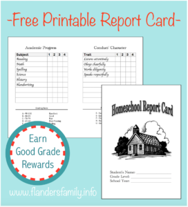 Homeschool Report Cards – Flanders Family Homelife Within Homeschool Report Card Template Middle School
