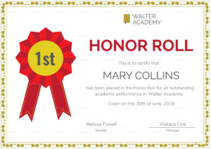 Honor Roll Certificate Template | Awards Certificates intended for Honor Roll Certificate Template