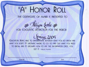 Honor Roll Certificate Template Inspirational Honor Roll within Honor Roll Certificate Template