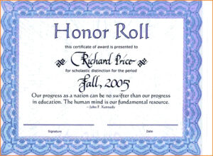 Honor Roll Certificate Template – Wepage.co inside Honor Roll Certificate Template