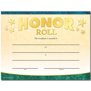 Honor Roll Gold Foil-Stamped Certificates for Honor Roll Certificate Template