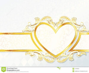 Horizontal Rococo Wedding Banner With Heart Emblem Stock intended for Wedding Banner Design Templates