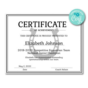 Horseshoe Certificate   Certificates   Printable Award with Softball Certificate Templates Free