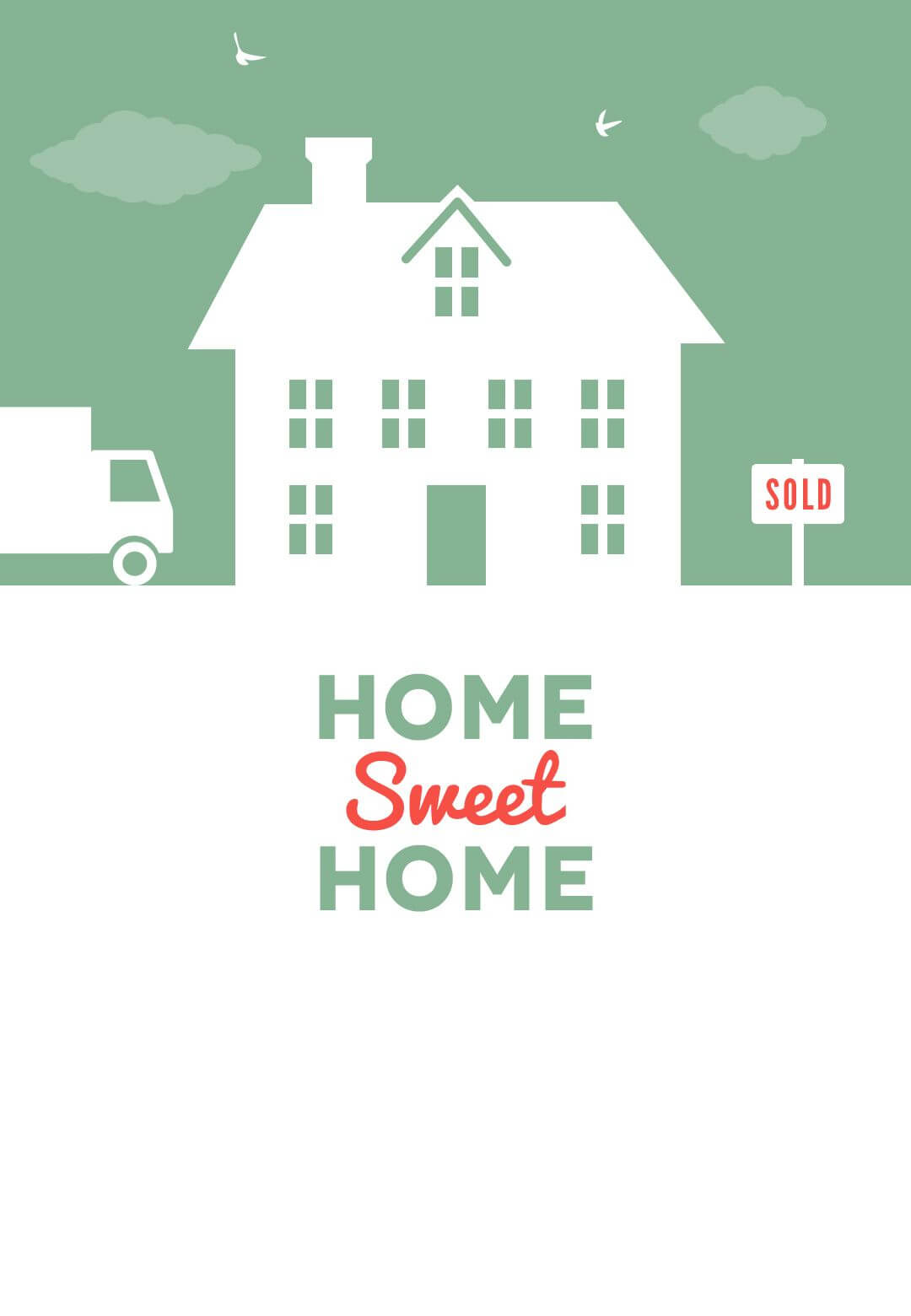 House And Birds - Free Printable Moving Announcement In Moving House Cards Template Free