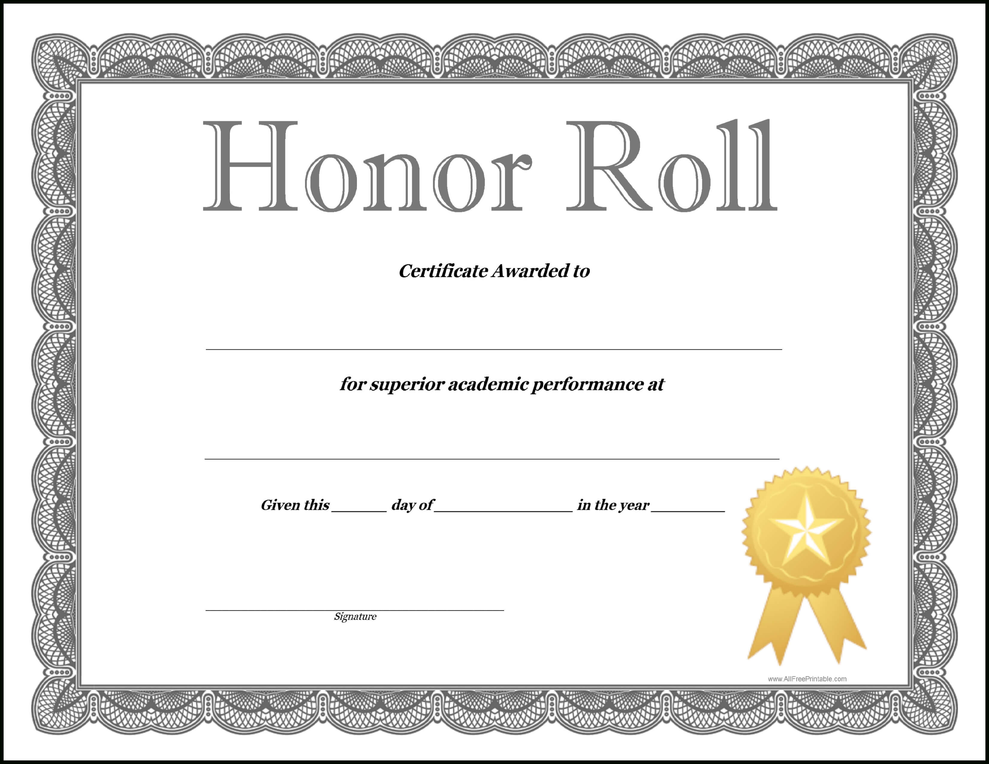 How To Craft A Professional Looking Honor Roll Certificate In Honor Roll Certificate Template