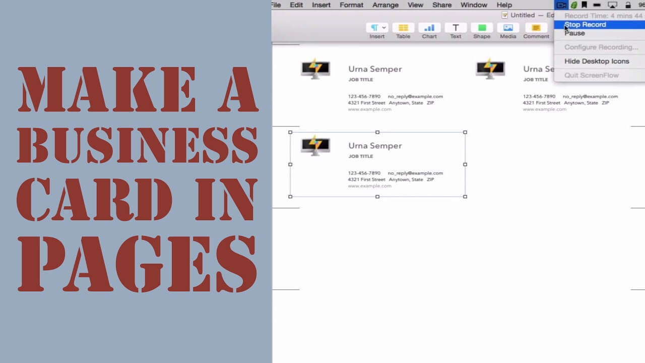 How To Create A Business Card In Pages For Mac (2014) Intended For Business Card Template Pages Mac