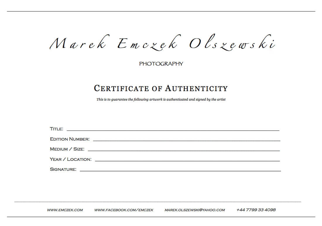 How To Create A Certificate Of Authenticity For Your Photography Within Certificate Of Authenticity Photography Template