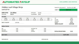 How To Create An Automated Payslip In Excel pertaining to Blank Payslip Template