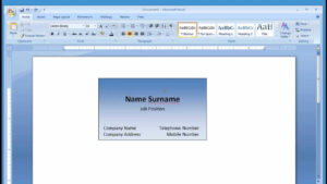 How To Create Calling Card In Microsoft Word 2007 | Uunilohi inside Business Card Template For Word 2007