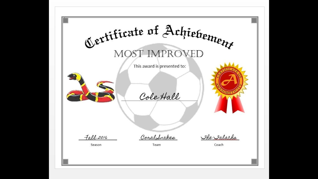 How To Easily Make A Certificate Of Achievement Award With Ms Word Within Soccer Certificate Templates For Word