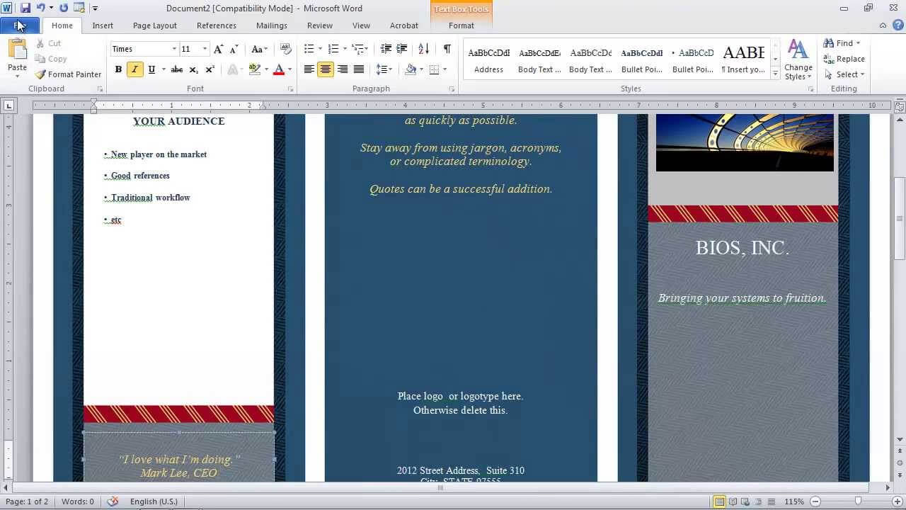 How To Make A Brochure In Microsoft Word With Brochure Template On Microsoft Word