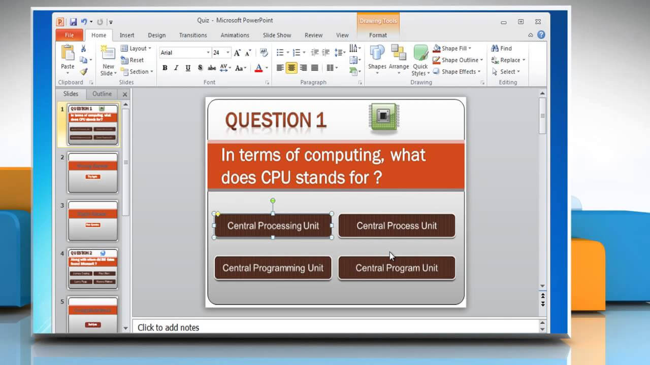 How To Make A Quiz On Powerpoint 2010 Inside Powerpoint Quiz Template Free Download