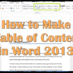 How To Make A Table Of Contents In Word 2013 Regarding Word 2013 Table Of Contents Template