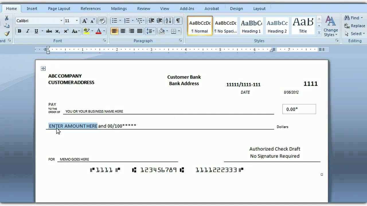 How To Print A Check Draft Template Intended For Blank Business Check Template Word